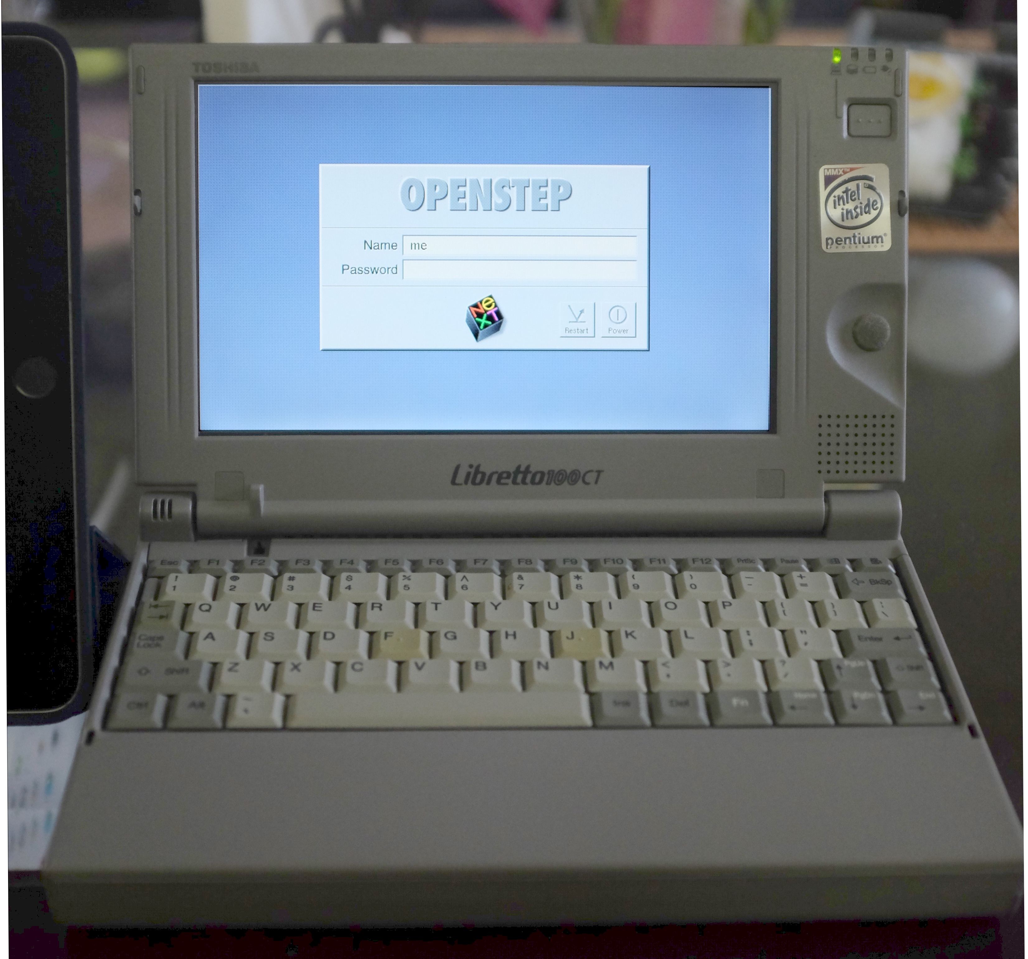 Libretto at OPENSTEP login screen